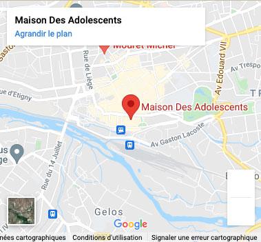 Carte Maison des Adolescents de Pau